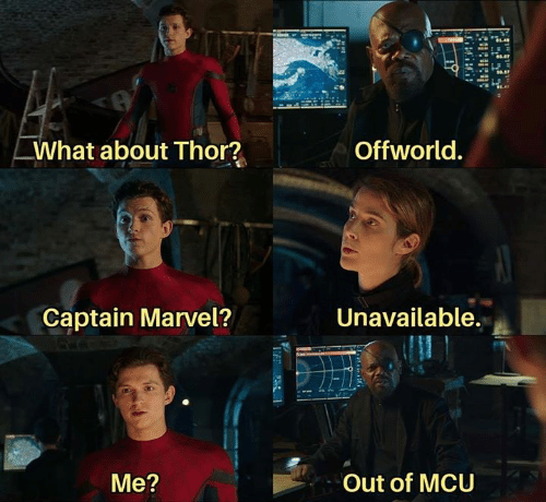 Memes, Marvel, and Thor: What about Thor?  Offworld.  Unavailable.  Captain Marvel?  Out of MCU  Me?