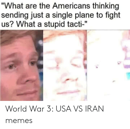 "Memes, Iran, and World: ""What are the Americans thinking  sending just a single plane to fight  us? What a stupid tacti-"" World War 3: USA VS IRAN memes"
