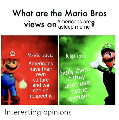 mario bros: What are the Mario Bros  are  views on asleep meme  M  Mario says:  luigi says:  Americans  have their  bully them  if they  don't use  metric  own  culture  and we  should  respect it  system Interesting opinions