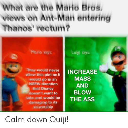 mario bros: What are the Mario Bros.  views on Ant-Man entering  Thanos' rectum?  Mario says:  Luigi says:  They would never  allow this plot as it  would go in an  NSFW direction  that Disney  doesn't want to  INCREASE  MASS  AND  BLOW  take and would be THE ASS  viewership Calm down Ouiji!