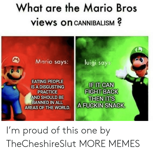 mario bros: What are the Mario Bros  views on CANNIBALISM  M  Mario says:  luigi says  EATING PEOPLE  IF IT CAN  FIGHT BACK  THEN IT'S  A FUCKIN SNACK  IS A DISGUSTING  PRACTICE  AND SHOULD BE  BANNED IN ALL  AREAS OF THE WORLD. I'm proud of this one by TheCheshireSlut MORE MEMES