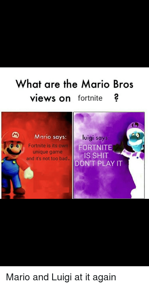 What Are The Mario Bros Views On Fortnite Mario Says Luigi Says