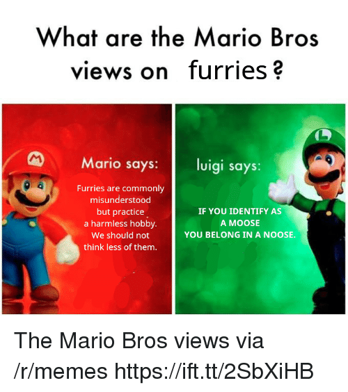 mario bros: What are the Mario Bros  views on furries?  Mario says: luigi says:  Furries are commonly  misunderstood  but practice  a harmless hobby.  We should not  think less of them.  IF YOU IDENTIFY AS  A MOOSE  YOU BELONG IN A NOOSE. The Mario Bros views via /r/memes https://ift.tt/2SbXiHB