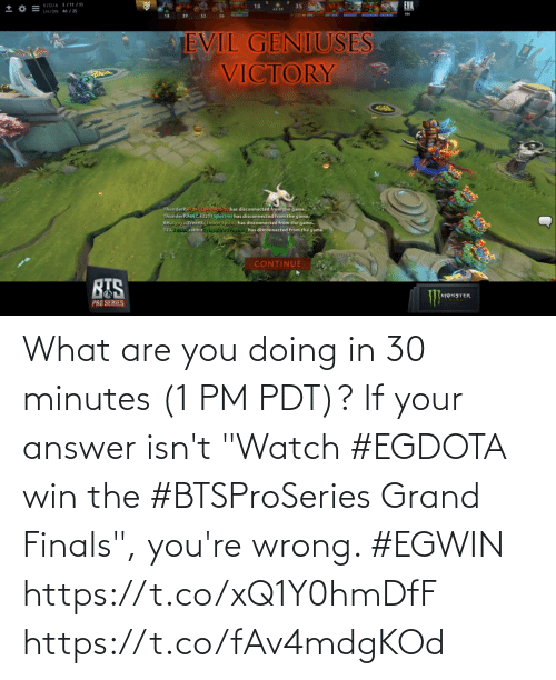 """If Your: What are you doing in 30 minutes (1 PM PDT)? If your answer isn't """"Watch #EGDOTA win the #BTSProSeries Grand Finals"""", you're wrong. #EGWIN  https://t.co/xQ1Y0hmDfF https://t.co/fAv4mdgKOd"""