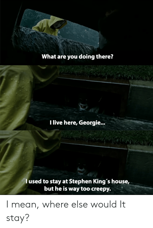 Creepy, Stephen, and House: What are you doing there?  Tlive here, Georgie...  l used to stay at Stephen King's house,  but he is way too creepy. I mean, where else would It stay?