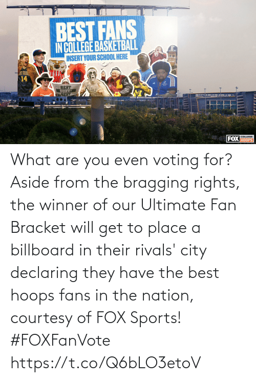 Billboard: What are you even voting for?  Aside from the bragging rights, the winner of our Ultimate Fan Bracket will get to place a billboard in their rivals' city declaring they have the best hoops fans in the nation, courtesy of FOX Sports! #FOXFanVote https://t.co/Q6bLO3etoV