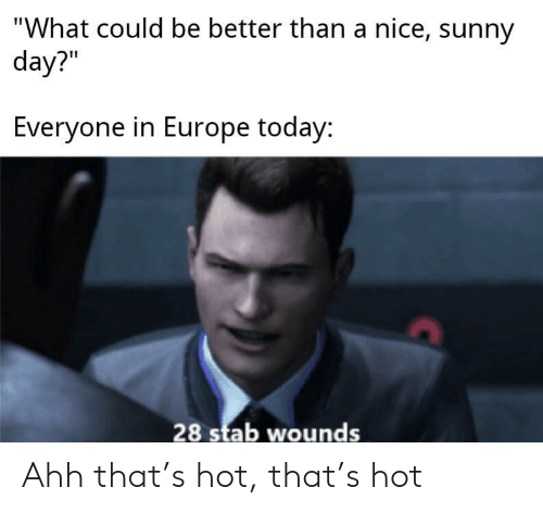 """sunny: """"What could be better than a nice, sunny  day?""""  Everyone in Europe today:  28 stab wounds Ahh that's hot, that's hot"""