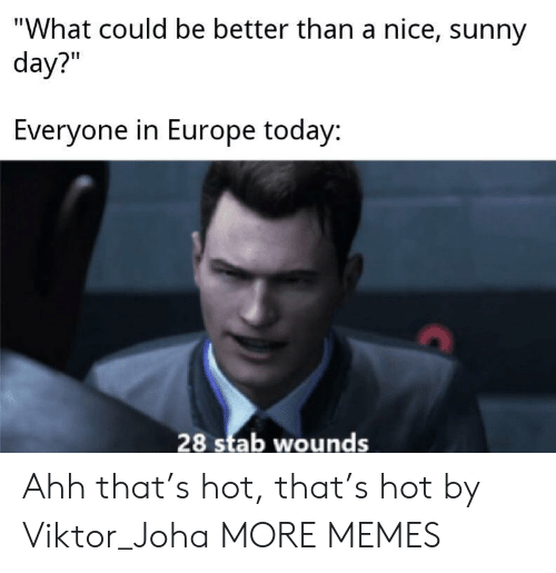 """viktor: """"What could be better than a nice, sunny  day?""""  Everyone in Europe today:  28 stab wounds Ahh that's hot, that's hot by Viktor_Joha MORE MEMES"""