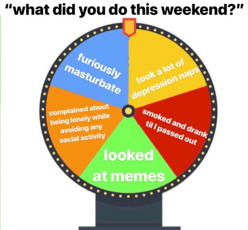 """Memes, Depression, and Weekend: """"what did you do this weekend?""""  furiously  masturbate  depression naps  smoked and drank  til l passed out  took a lot of  complained about  being lonely while  avoiding any  social activity  looked  at memes"""