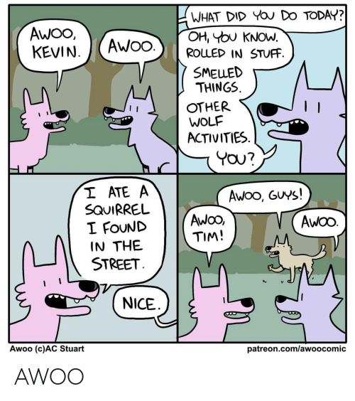 what did: WHAT DID YOU DO TODAY?  OH, YOU KNOW.  ROLLED IN STUFF.  AWO,  KEVIN.  AWO.  SMELLED  THINGS.  OTHER  WOLF  ACTIVITIES.  YOU?  I ATE A  SQUIRREL  I FOUND  IN THE  STREET.  Awoo, GUYS!  AwOO,  TIM!  AWOO.  NICE  Awoo (c)AC Stuart  patreon.com/awoocomic AWOO