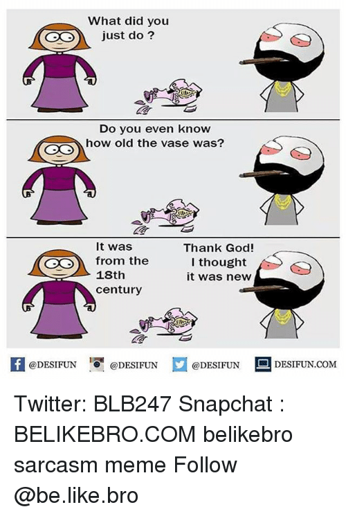 Be Like, God, and Meme: What did you  O just do?  Do you even know  how old the vase was?  It was  from the  18th  Thank God!  l thought  it was new  century  K @DESIFUN 증@DESIFUN  @DESIFUN-DESIFUN.COM Twitter: BLB247 Snapchat : BELIKEBRO.COM belikebro sarcasm meme Follow @be.like.bro
