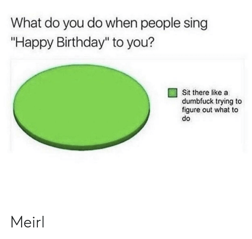 "Birthday, Happy Birthday, and Happy: What do you do when people sing  ""Happy Birthday"" to you?  Sit there like a  dumbfuck trying to  figure out what to  do Meirl"