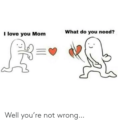 what do you: What do you need?  I love you Mom Well you're not wrong…