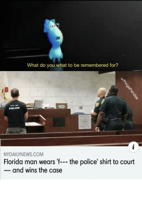 Florida Man, Police, and Tumblr: What do you what to be remembered for?  POLICE  NYDAILYNEWS.COM  Florida man wears 'f--- the police' shirt to court  - and wins the case  u/PingaPandaa awesomesthesia:  FLORIDA (OC)