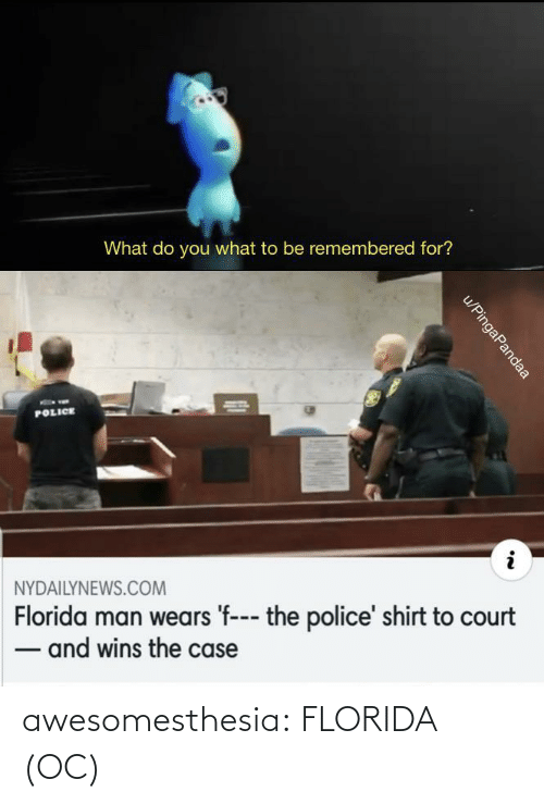 Nydailynews: What do you what to be remembered for?  POLICE  NYDAILYNEWS.COM  Florida man wears 'f--- the police' shirt to court  - and wins the case  u/PingaPandaa awesomesthesia:  FLORIDA (OC)