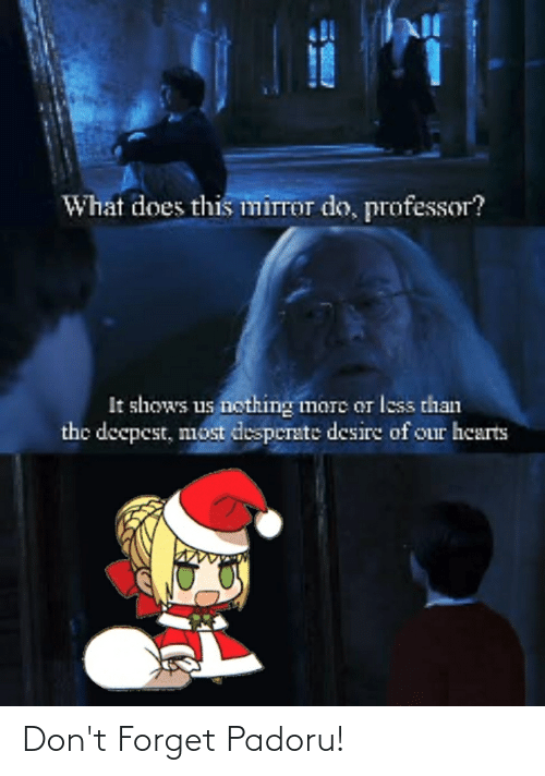 Anime, Desperate, and Hearts: What does this mirror do, professor?  It shows us nothing imare or less than  the decpest, most desperate desire of our hearts Don't Forget Padoru!