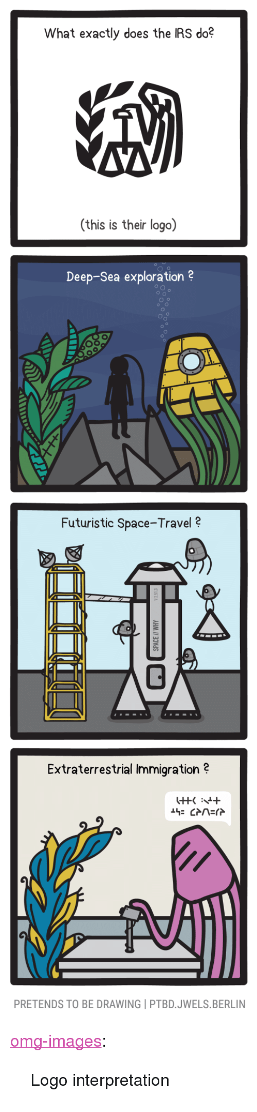 """Irs, Omg, and Tumblr: What exactly does the IRS do?  AVA  (this is their logo)  Deep-Sea exploration 2  Futuristic Space-Travel  Extraterrestrial Immigration?  PRETENDS TO BE DRAWING PTBD.JWELS.BERLIN <p><a href=""""https://omg-images.tumblr.com/post/171025815397/logo-interpretation"""" class=""""tumblr_blog"""">omg-images</a>:</p>  <blockquote><p>Logo interpretation</p></blockquote>"""