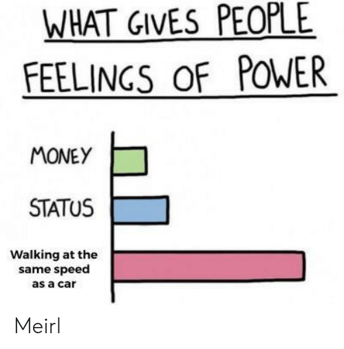 Money, Power, and MeIRL: WHAT GIVES PEOPLE  FEELINGS OF POWER  MONEY  STATUS  Walking at the  same speed  as a car Meirl