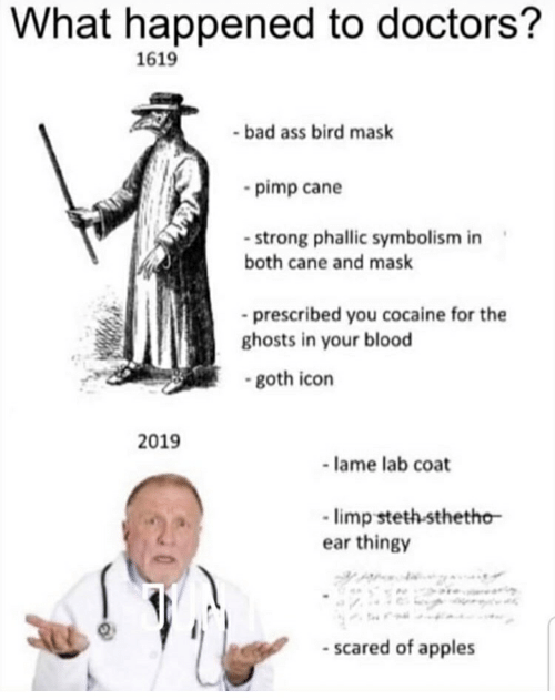 Ass, Bad, and Cocaine: What happened to doctors?  1619  bad ass bird mask  pimp cane  - strong phallic symbolism in  both cane and mask  prescribed you cocaine for the  ghosts in your blood  goth icon  2019  -lame lab coat  limp steth sthetho  ear thingy  scared of apples