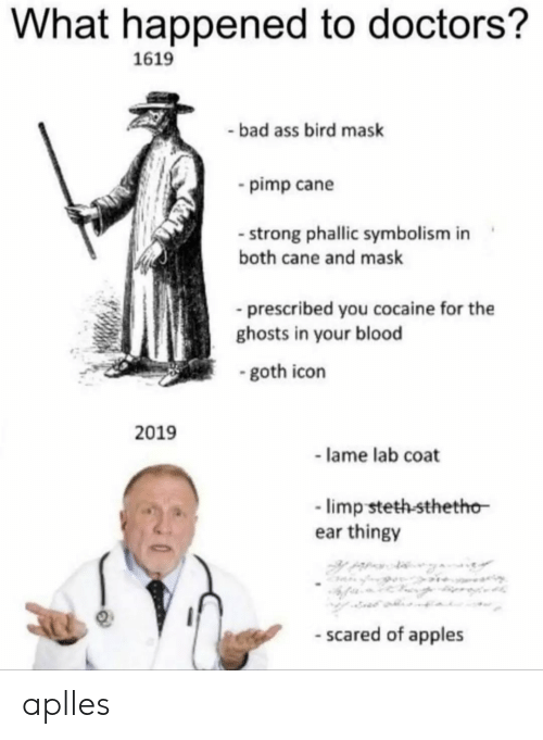 Ass, Bad, and Cocaine: What happened to doctors?  1619  bad ass bird mask  pimp cane  strong phallic symbolism in  both cane and mask  prescribed you cocaine for the  ghosts in your blood  goth icon  2019  - lame lab coat  limp steth-sthetho-  ear thingy  - scared of apples aplles