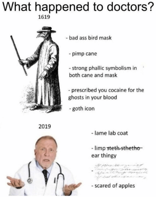 Bad, Cocaine, and Strong: What happened to doctors?  1619  -bad ass bird mask  pimp cane  strong phallic symbolism in  both cane and mask  prescribed you cocaine for the  ghosts in your blood  -goth icon  2019  lame lab coat  limp steth-sthetho  ear thingy  - scared of apples