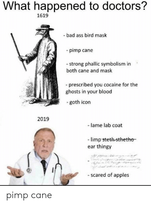 Ass, Bad, and Cocaine: What happened to doctors?  1619  bad ass bird mask  pimp cane  strong phallic symbolism in  both cane and mask  -prescribed you cocaine for the  ghosts in your blood  goth icon  2019  - lame lab coat  limp steth-sthetho  ear thingy  - scared of apples pimp cane