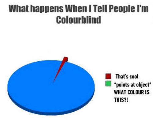 Colourblind: What happens When I Tell People I'm  Colourblind  That's cool  ■·points at object.  WHAT COLOUR IS  THIS?!