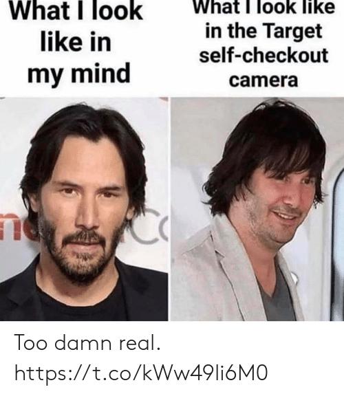 Like What: What I look like  What I look  like in  in the Target  self-checkout  my mind  camera Too damn real. https://t.co/kWw49li6M0