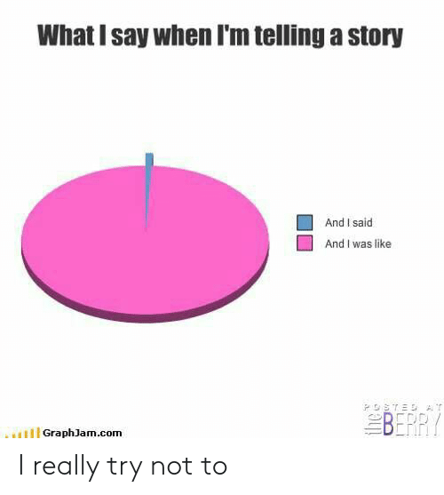 Com, Story, and What: What I say when I'm telling a story  And I said  And I was like  BERR  HGraphJam.com I really try not to