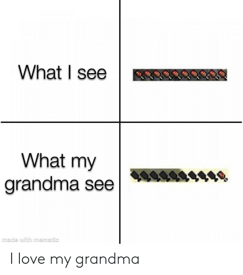 Grandma, Love, and What: What I see  What my  grandma see  made with mematic I love my grandma