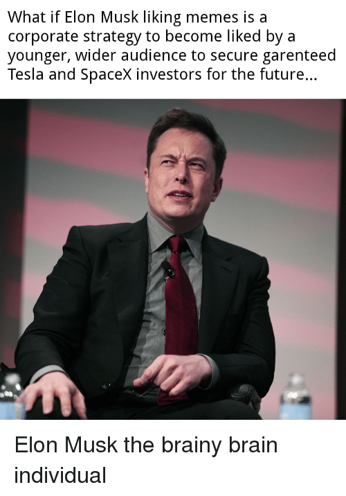 Spacex: What if Elon Musk liking memes is a  corporate strategy to become liked bya  younger, wider audience to secure garenteed  Tesla and Spacex investors for the future.. Elon Musk the brainy brain individual