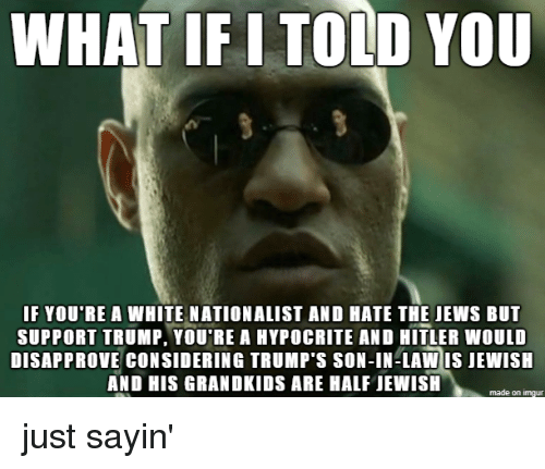 Hypocrite: WHAT IF I TOLD YOU  F YOU RE A WHITE NATIONALIST AND HATE THE JEWS BUT  SUPPORT TRUMP, YOU'RE A HYPOCRITE AND HITLER WOULD  DISAPPROVE CONSIDERING TRUMP'S SON-IN-LAW IS JEWISH  AND HIS GRANDKIDS ARE HALF JEWISH  made on imgur just sayin'