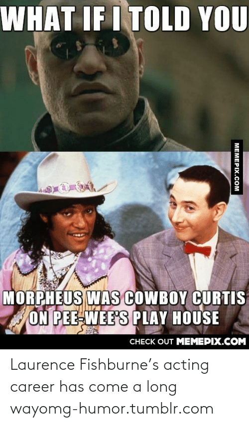 Morpheus: WHAT IF I TOLD YOU  MORPHEUS WAs COWBOY CURTIS  ON PEE-WEE'S PLAY HOUSE  CHECK OUT MEMEPIX.COM  MEMEPIX.COM Laurence Fishburne's acting career has come a long wayomg-humor.tumblr.com
