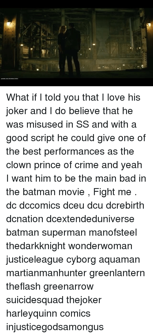 Criming: What if I told you that I love his joker and I do believe that he was misused in SS and with a good script he could give one of the best performances as the clown prince of crime and yeah I want him to be the main bad in the batman movie , Fight me . dc dccomics dceu dcu dcrebirth dcnation dcextendeduniverse batman superman manofsteel thedarkknight wonderwoman justiceleague cyborg aquaman martianmanhunter greenlantern theflash greenarrow suicidesquad thejoker harleyquinn comics injusticegodsamongus