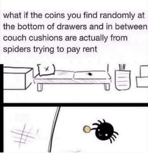 drawers: what if the coins you find randomly at  the bottom of drawers and in between  couch cushions are actually from  spiders trying to pay rent