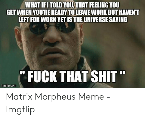 Morpheus Meme: WHAT IFITOLD YOU, THAT FEELING YOU  GET WHEN YOU'RE READY TO LEAVE WORK BUT HAVENT  LEFT FOR WORK YET IS THE UNIVERSE SAYING  FUCK THAT SHIT  imgflip.com Matrix Morpheus Meme - Imgflip