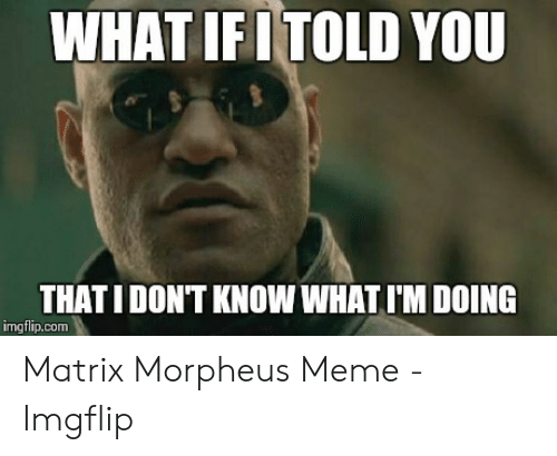 Morpheus Meme: WHAT IFITOLD YOU  THATI DONT KNOW WHAT I'M DOING  imgflip.com Matrix Morpheus Meme - Imgflip