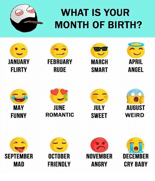 crying babies: WHAT IS YOUR  MONTH OF BIRTH?  MARCH  APRIL  JANUARY  FEBRUARY  ANGEL  FLIRTY  RUDE  SMART  JUNE  AUGUST  JULY  MAY  FUNNY  WEIRD  ROMANTIC  SWEET  SEPTEMBER  OCTOBER  NOVEMBER  DECEMBER  ANGRY  FRIENDLY  MAD  CRY BABY