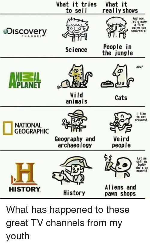 pawn: What it tries What it  to sel l  really shows  And now  let s make  a fire  U using tve  esiscovery  squirrels  CHANNEL  People in  the jungle  Science  Hew!  PLANET  Wild  animals  Cats  like  to eat  crayons!  O  NATIONAL  GEOGRAPHIC  Geography and  archaeology  Weird  people  $5  Let :e  call ny  buddy  who s an  expert!  Aliens and  pawn shops  HISTORY  History What has happened to these great TV channels from my youth