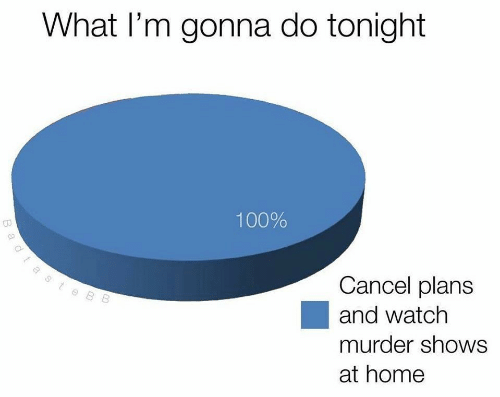 Anaconda, Home, and Watch: What l'm gonna do tonight  100%  Cancel plans  and watch  murder shows  at home