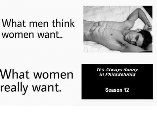 Its Always Sunny In: What men think  women want  What women  really want.  It's Always Sunny  in Philadelphia  Season 12