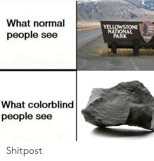 Reddit, Service, and Park: What normal  people see  YELLOWSTONEORE  PARK  SERVICE  NATIONAL  PARK  Deportnent  of the Interior  What colorblind  people see Shitpost