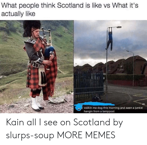 What People Think: What people think Scotland is like vs What it's  actually like  walkin ma dog this morning and seen a junkie  hangin from a lamppost Kain all I see on Scotland by slurps-soup MORE MEMES