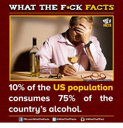 Populism: WHAT THE FCK FACTS  FACTS  mage source Indiatimes.com  10% of the US population  consumes 75% of the  country's alcohol.  FB.com/WhatThe Facts  @WhatTheFFacts  @WhatTheFFact
