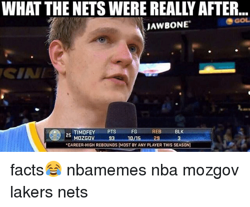 """jawbone: WHAT THE NETS WERE REALLY AFTER  GOL  JAWBONE  REB  BLK  TIMOFEY  PTS  FG  25  MOZGOV 93 10/15 29  """"CAREER-HIGH REBOUNDS (MOST BY ANY PLAYER THIS SEASON) facts😂 nbamemes nba mozgov lakers nets"""