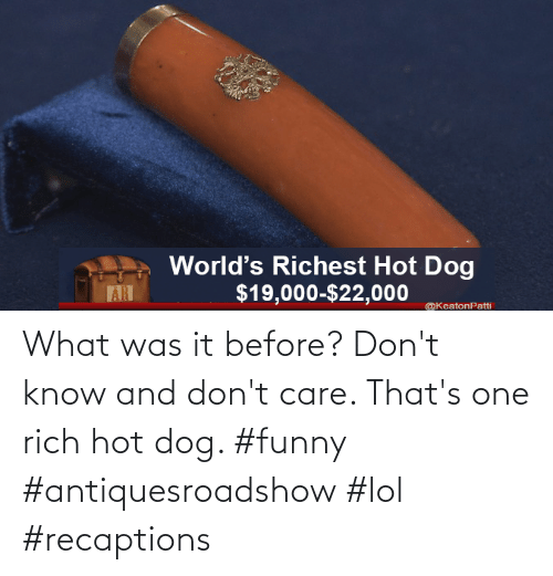 don't care: What was it before? Don't know and don't care. That's one rich hot dog. #funny #antiquesroadshow #lol #recaptions