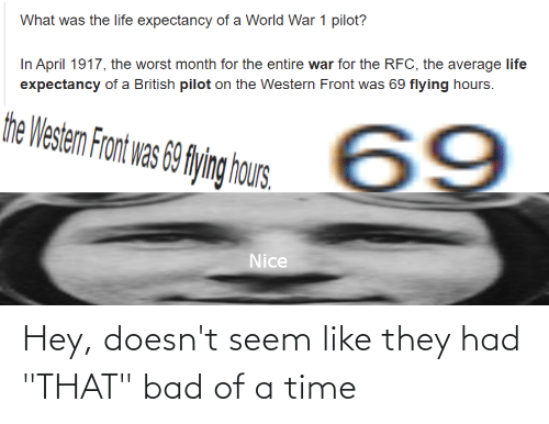 """hous: What was the life expectancy of a World War 1 pilot?  In April 1917, the worst month for the entire war for the RFC, the average life  expectancy of a British pilot on the Western Front was 69 flying hours.  the Westem Front was 69 flying hous.  69  Nice Hey, doesn't seem like they had """"THAT"""" bad of a time"""