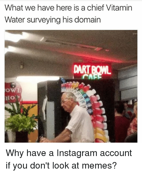 Instagram, Memes, and Water: What we have here is a chief Vitamin  Water surveying his domain  DART Why have a Instagram account if you don't look at memes?