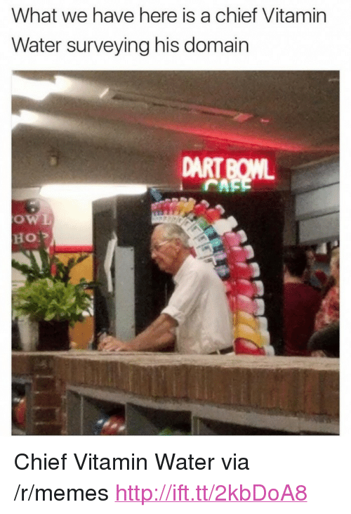 "Memes, Http, and Water: What we have here is a chief Vitamin  Water surveying his domain  DART BOML <p>Chief Vitamin Water via /r/memes <a href=""http://ift.tt/2kbDoA8"">http://ift.tt/2kbDoA8</a></p>"