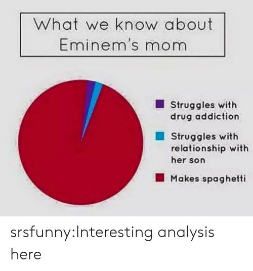 Tumblr, Blog, and Spaghetti: What we know about  Eminem's mom  Struggles with  drug addiction  Struggles with  relationship with  her son  Makes spaghetti srsfunny:Interesting analysis here